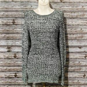 Ultra Flirt | Marled Open Knit Hi-Low Sweater | S